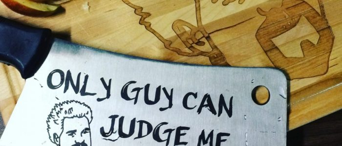 Guy fieri custom engraved knife and cutting board birthday gifts engraving laser engraving pros Meat Cleavers Engraving cutting boards